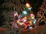 Cartolina di Natale: Auguri con albero di Natale