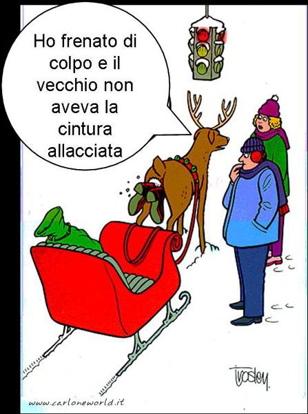 Babbo Natale sulla slitta senza cintura di sicurezza