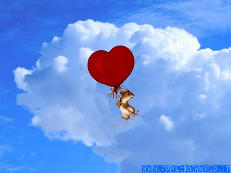 Topolino con palloncino a forma di cuore